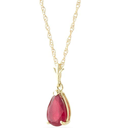 Galaxy Gold 14k 14k Solid Gold Pear-Shaped 1.75 ct Ruby Drop Pendant Necklace