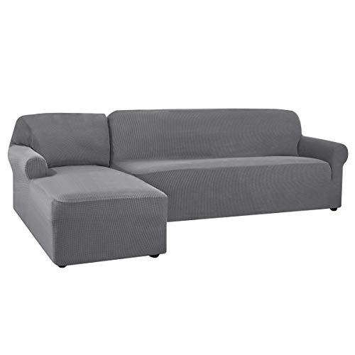 CHUN YI Sofa Überwürfe Sofabezug L Form Elastisch Jacquard Sofahusse für Ecksofa stretchbezug Couch mit 2 Stücke Abdeckhaube Sofaschoner (Links 2-Sitzer, Hellgrau)