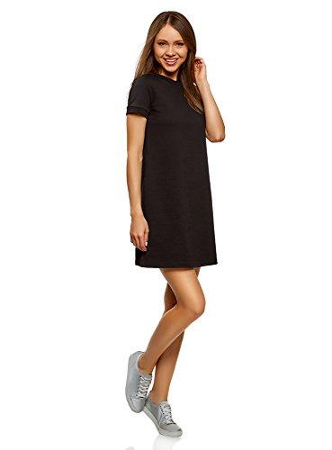 oodji Ultra Damen Lässiges Kleid mit Kurzen Ärmeln, Schwarz, DE 34 / EU 36 / XS