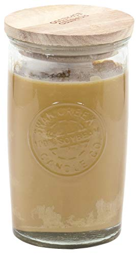Red Co. Swan Creek Highly Scented Glass Pillar Candle Cylinder with Wooden Lid – Roasted Espresso, 12 oz.