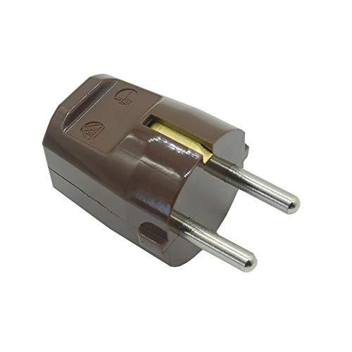Enchufe con protección de contacto, marrón, tipo F, 250 V, enchufe con protección de contacto, n.º 614, resina de urea