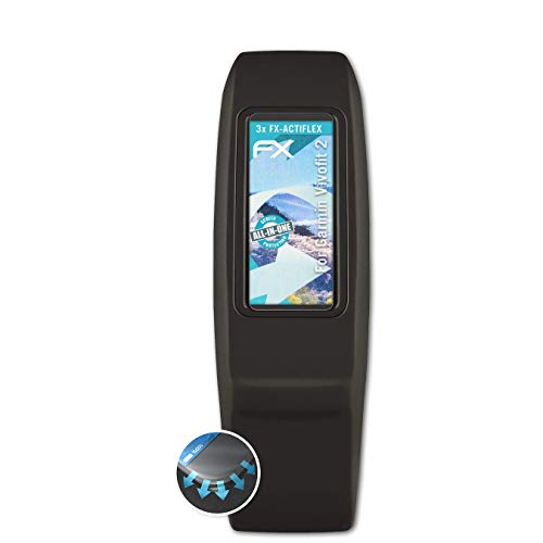 atFoliX Schutzfolie kompatibel mit Garmin Vivofit 2 Folie, ultraklare & Flexible FX Bildschirmschutzfolie (3X)