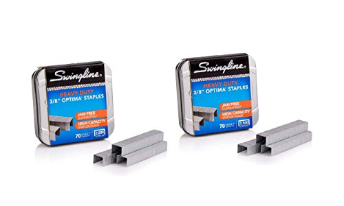 "Swingline Staples, Optima, Heavy Duty, 3/8"" Length, Jam Free, 125/Strip, 2500/Box, 1 Box (35550) 2 Pack"