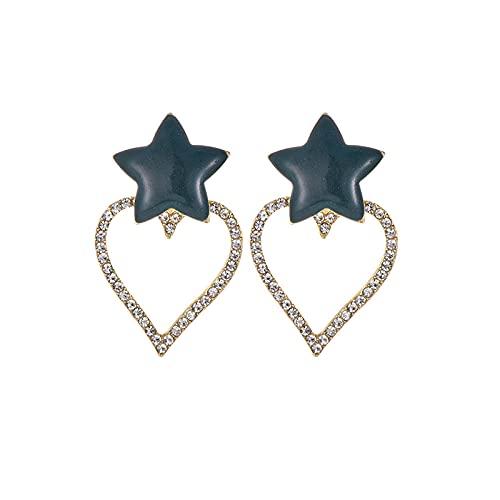 Earring Crystal Heart Star Drop Earrings For Women Earrings Long Statement Fashion Party Handmade Tassel Accessories-Navy