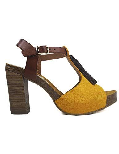 Sandalias Oh!! Isabella 7710 Serraje Bolvi - Color - Amarillo, Talla - 36