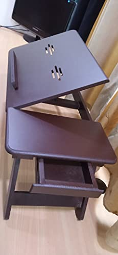Gorevizon Adjustable Laptop Table/Bed Table/Study Table/Activity Table, with Drawer (Brown)