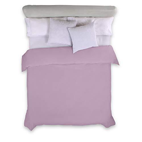 ESTELIA - Funda nórdica Lisa Color Malva - Cama de 90 (1 Pieza) - 100% algodón - 144 Hilos