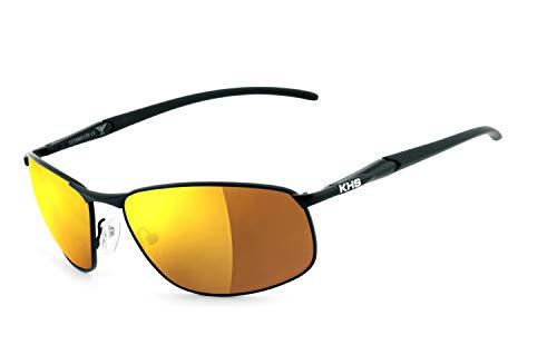KHS | Flex-Scharnier, UV400 Schutzfilter, HLT® Kunststoff-Sicherheitsglas nach DIN EN 166 | Sonnenbrille, Ballistische Schutzbrille, Schutzbrille | Brillengestell: schwarz, Brille: 170