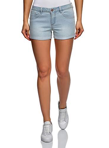 oodji Ultra Damen Basic-Jeansshorts, Blau, Herstellergröße DE 34 / EU 36 / XS