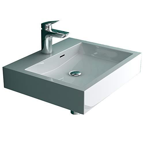 Alpenberger Aufsatz- Waschbecken mit integriertem Überlaufschutz | Eckiges & Elegantes Ausgussbecken aus hochwertigem Mineralguss | Leichte Montage & Genormte Anschlüsse