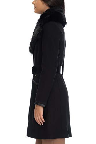 GUESS Abrigo Largo Negro Cuello Pelo Rosemary (L - Negro)