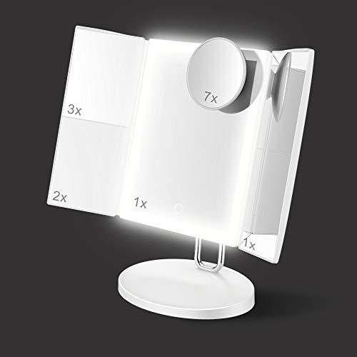 TOUCHBeauty Specchio per Trucco Illuminato Ingranditore 1X/2X/3X/7X, Specchio Cosmetico con 34 Luci LED Naturali a Intensità Regolabile e Touchscreen, Specchio Triplo da Tavolo con Base