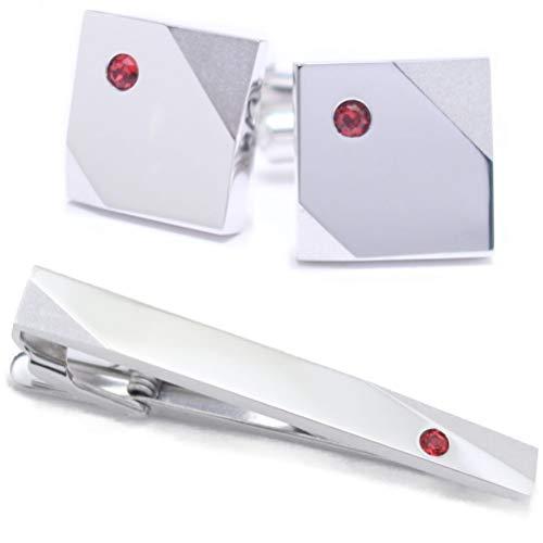 名入れ刻印サービス 1月 誕生石 カラー スワロフスキー ストーン ネクタイピン カフスボタン セット
