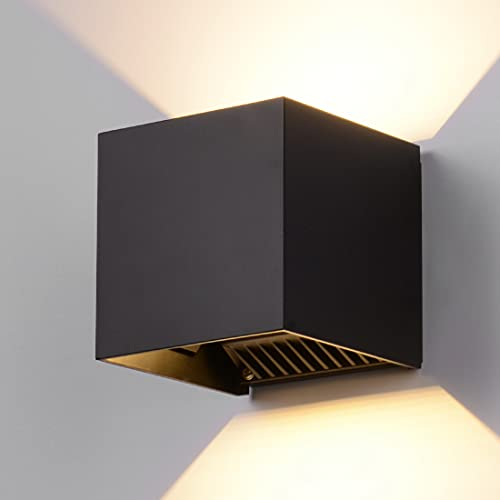 "INHDBOX LED Exterior Wall Lamp,4.7"" Adjustable Outdoor Porch Wall Mounted Lighting Fixtures,12W Warm Light 3000K 丨Aluminum Waterproof IP65"