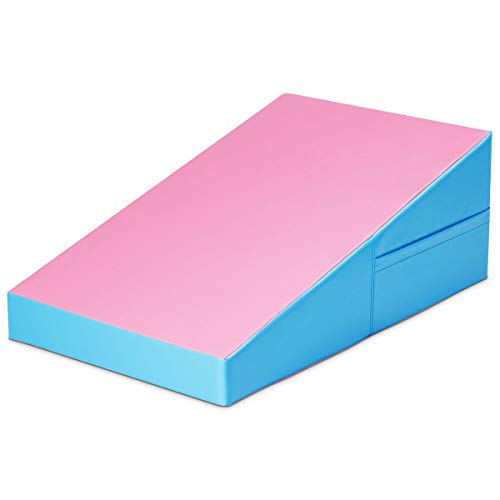 GYMAX Incline Gymnastics Mat Wedge Shape Gymnastics Incline Mat NonFolding Gymnastics Gym Fitness Tumbling Mat Ideal for Tumbling Practice amp Exercise PinkBlue