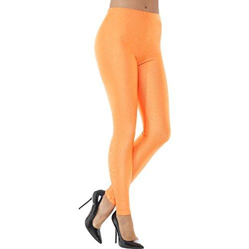 Smiffys Damen 80er Jahre Disko Elastan Leggings, Größe: 44-46, Neon Orange, 48112, Large