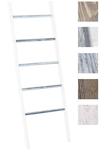 CLP Holzleiter Mariette V2 I Dekoleiter Mit Fünf Sprossen I Leiter Aus Blauglockenholz I Handtuchhalter, Farbe:weiß/grau