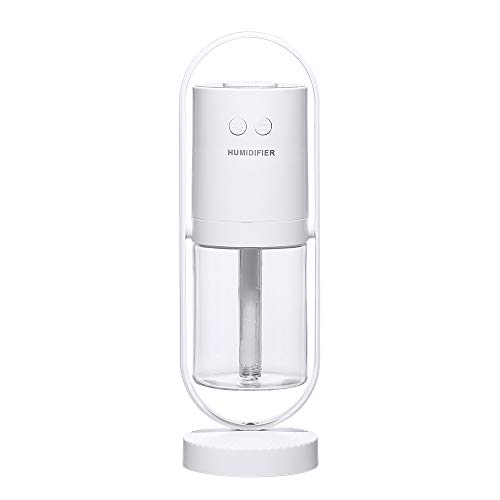redcolorful mini humidificador portátil silencioso humidificador aire USB mini difusor 7 colores cambio luz Ait purifie para el hogar blanco negativo ion purificación