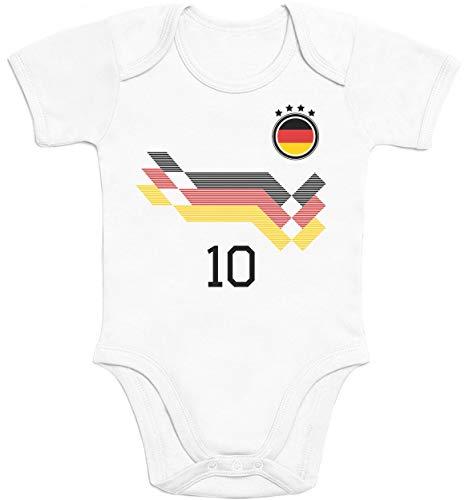 Shirtgeil Deutschland Fußball EM WM Trikot Kinder Wunschname Nummer Baby Body Kurzarm-Body 12-18 Monate Weiß