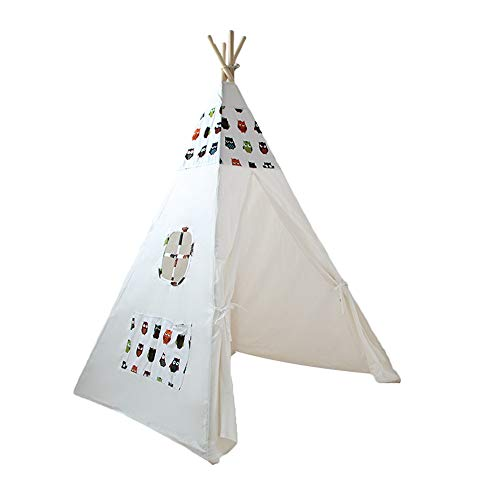 Liergou Childrensplay Tent Children Indian Tent With Window Outdoor And Indoor Portable Kids Playhouse Teepee Gift for Kids (Color : White2, Size : ONE SIZE)