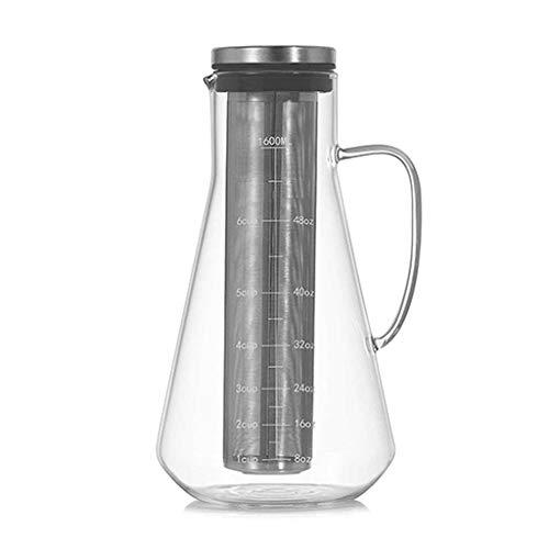 huiingwen Cafetera de gran capacidad de 1600 ml con escala de acero inoxidable Flter de vidrio de borosilicato alto extracto en frío Coffeepot