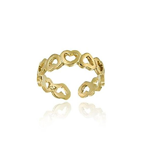 Luxuriöser Zehenring mit Herzen, 24 Karat Gold Vermeil