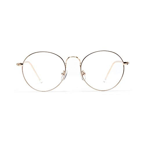 TEYUN Gafas de lente transparente con borde Nerd (color dorado)