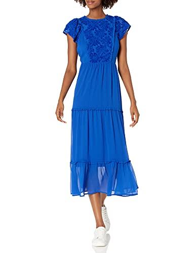kensie Women's Crinkle Chiffon Maxi Dress, Ultramarine, Extra Small