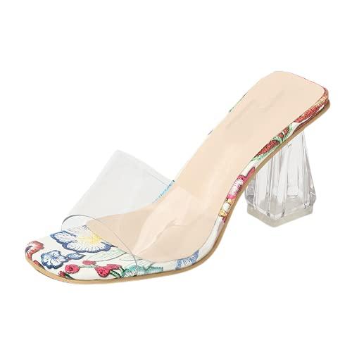 Sandalias de tacón grueso transparente para mujer, con perlas, para boda, vestido...