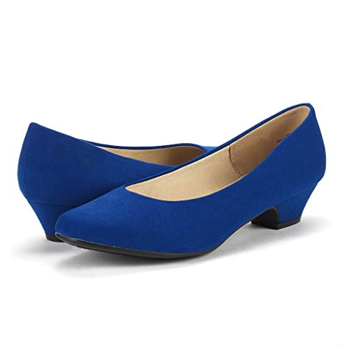 DREAM PAIRS Women's Mila Royal Blue Low Chunky Heel Pump Shoes Size 9 M US