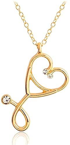 Yiffshunl Collar de Moda con Colgante de Estetoscopio, combinación de latidos del corazón, Colgantes de jeringa de Amor, Regalos para Amantes de la Enfermera médica