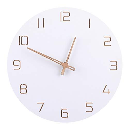 N/A stijl, eenvoudige wandklok, stil, voor binnendecoratie, zuiver wit, type: wandklok, kwarts, timer
