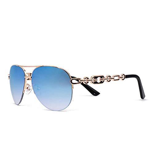 Personalidad de moda nuevas gafas europeas y americanas con montura grande rosa gafas de sol con protección solar, montura dorada, tabletas azul hielo