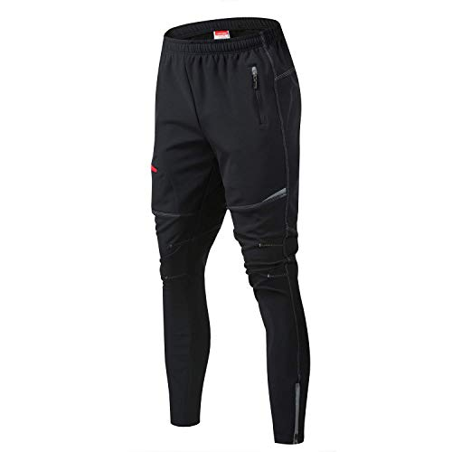 JOGVELO Mtb Pants Mens, Cycling Trousers Reflective Thermal Waterproof for Outdoor and Multi Sports Training (Black L)