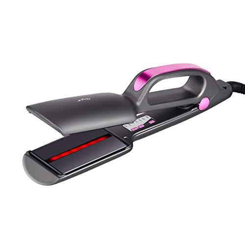 Haarglätter,CkeyiN Infrarot Glätteisen LCD Anzeige Schnellaufheizzeit Dual Spannung Keramik Platte, glätteisen Locken und Rotierende einstellbare Temperatur für alle Haartypen