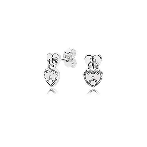 Ohrringe S925 Silber Ohrstecker Buchstabe O Sterling Silber Vorhängeschloss Ohrstecker Herzförmige Ohrringe Weiblich