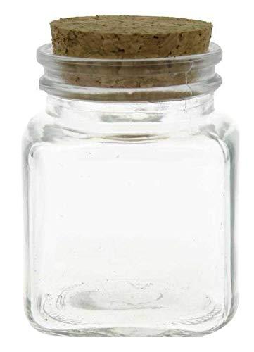 12 pezzi Barattolo bomboniera confettata in vetro quadro quadrato bombato con sughero