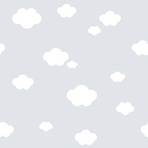 Rasch Textil Papiertapete Tapete - Kollektion Bimbaloo 2- 330259 Wolken Weiß Grau
