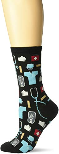 Hot Sox Women's Novelty Occupation Casual Crew, Medical (black), Shoe Size: 4-10 (Sock Size: 9-11)