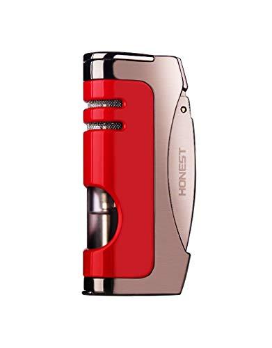 【WDMART】 葉巻 用ライター ガスライター メタルライター 充填式ライター 注入式ライター ターボ ジェット ライター 残余ガス可視化 葉巻パンチ付き 誕生日プレゼント(ガスを含んでいません) (レッド)