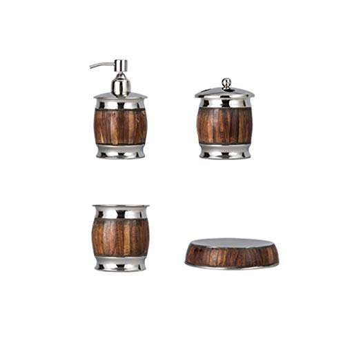 Nologo Soap Dispensers Silver-plated Copper Bathroom Soap Dispenser Kit, Lotion Bottle Toothbrush Cup Mouthwash Cup Soap Dish 4-Piece Set