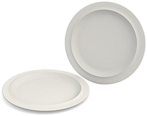 Ornamin Teller flach Ø 26 cm weiß 2er-Set Melamin (Modell 504) / Menüteller, Speiseteller