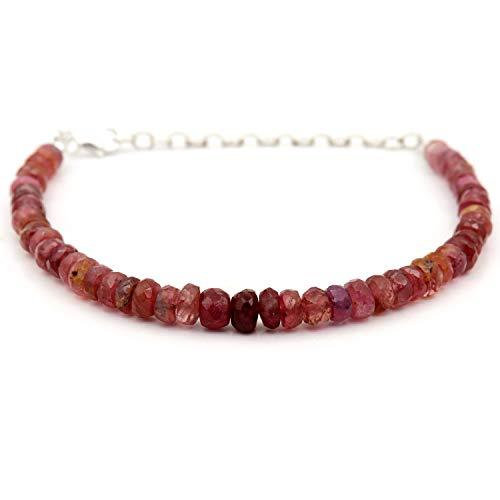 Pulsera de turmalina rosa sombreada, joyería de turmalina rosa, piedra natal de octubre, plata de ley, pulsera de turmalina rosa
