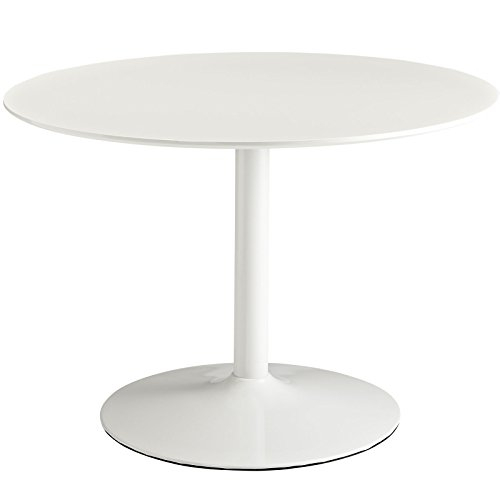 Modway Rostrum Modern 44' Round Top Pedestal Kitchen and Dining Room Table in White
