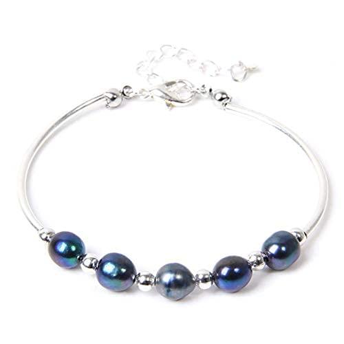 Oaisij Bracelet 925 Pulsera de Perlas ovaladas de Agua Dulce de Color Fresco