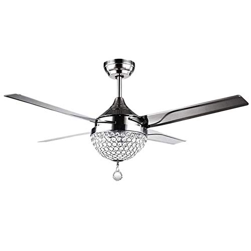 Crystal Modern Ceiling Fan-Remote Control Home Decoration Living Room Dinner Room Simple LED Mute Electric Fans Chandeliers 4 Stainless Steel Blades 44 Inch