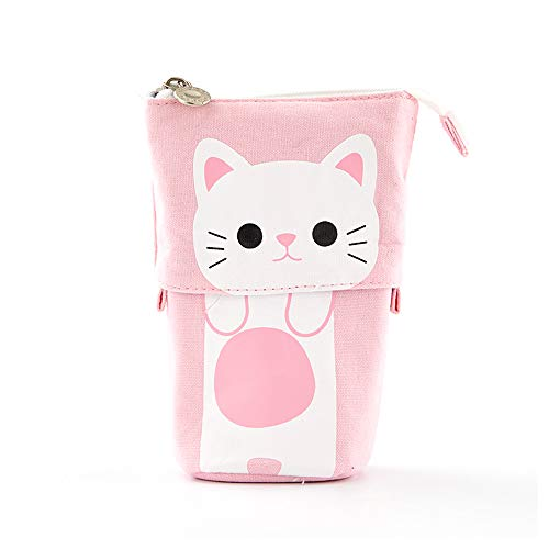 Wusheng Pencil Case Cute, Cartoon Cute Cat Telescopic Pencil Pouch Bag Stationery Pen Case Box with Zipper Closure Pen Box for Girls (Little Yellow Chicken)