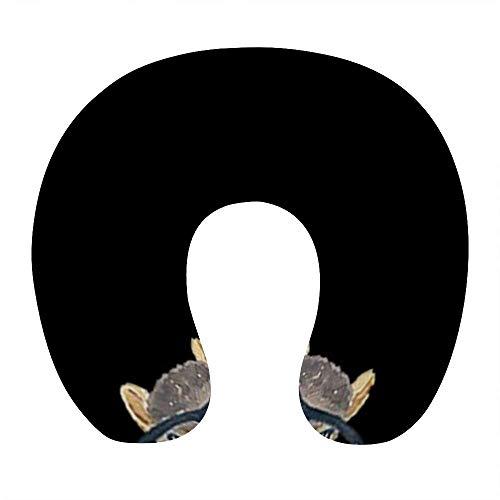 Almohada de Viaje de Espuma viscoelástica Suave, Almohada para el Cuello en Forma de U con Funda Lavable Que soporta el Cuello y Libera el Dolor, Ardilla Nerd con Cristal Negro