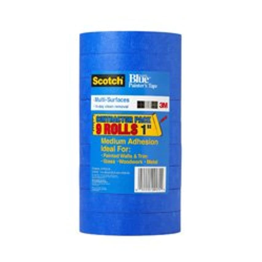 3M Scotch-Blue 2090 Safe-Release Crepe Paper Multi-Surfaces Painters Masking Tape, 27 lbs/in Tensile Strength, 60 yds Length x 1