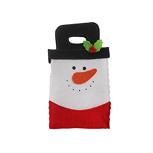 YHFJB Fundas para botellas de vino, diseño de Papá Noel, muñeco de nieve, reno hecho a mano, decoración de muñeco de nieve rojo y verde